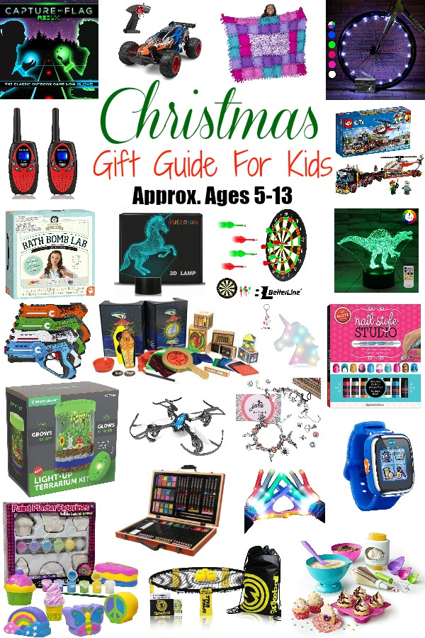Pinterest graphic with text for Christmas Gift Guide for Kids (Approx. Ages 5-13) and collage of children\'s gifts.