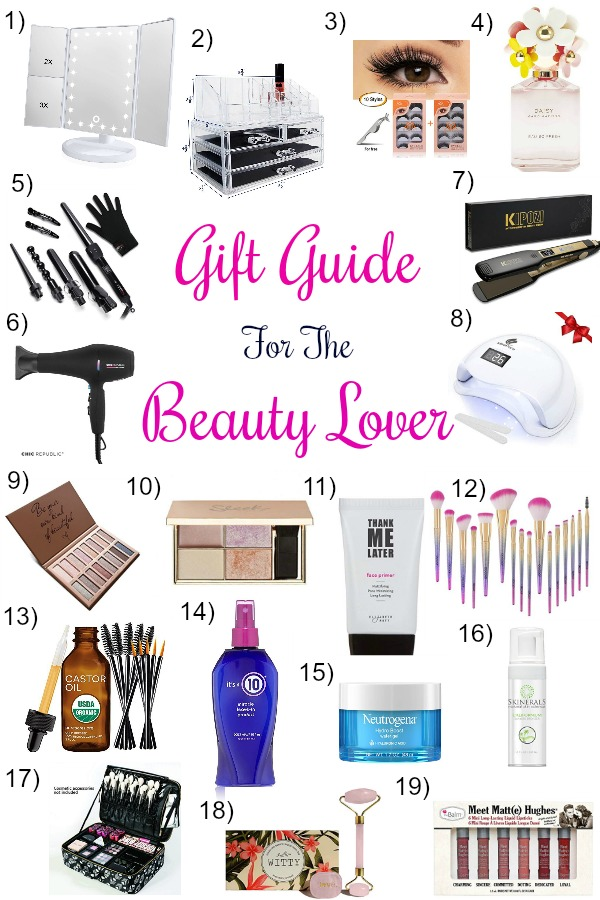 Pinterest graphic with text for Gift Guide for the Beauty Lover and collage of beauty products.