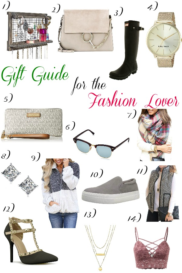 Pinterest graphic with text for Gift Guide for the Fashion Lover and collage of women\'s clothing items and accessories.