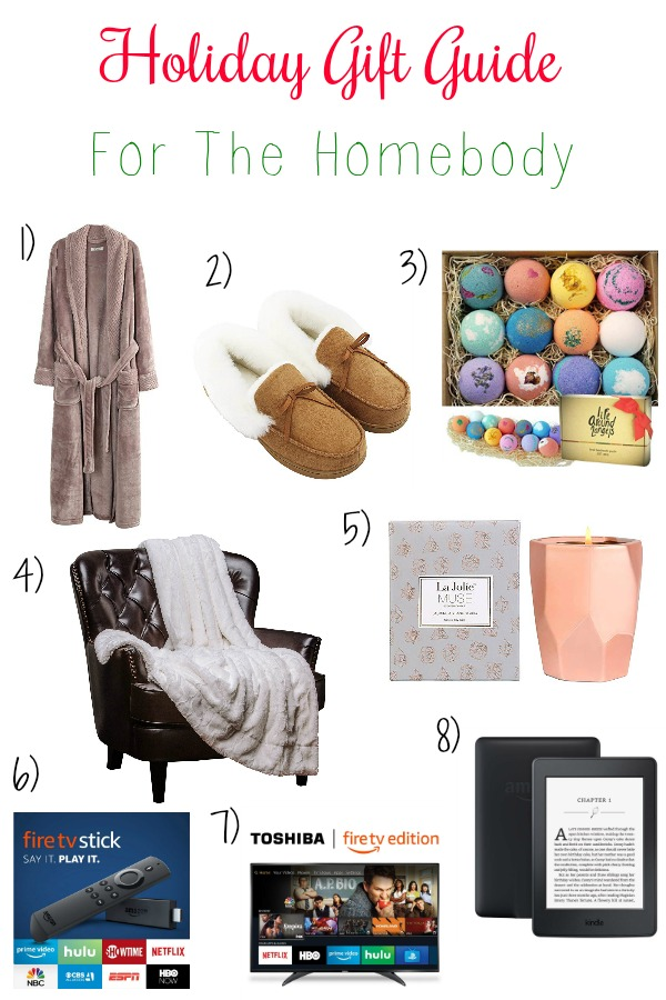 Pinterest graphic with text for Holiday Gift Guide for the Homebody and collage of homey and cozy gift ideas.