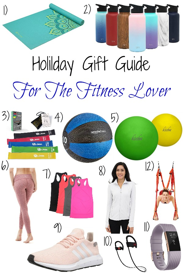 Pinterest graphic with text for Holiday Gift Guide for the Fitness Lover and collage of fitness items.