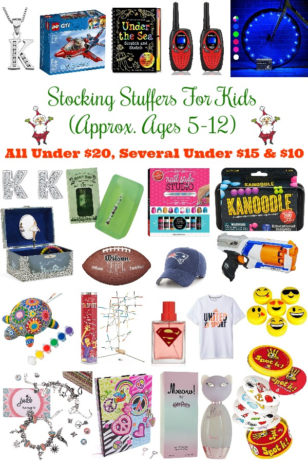 Pinterest graphic with text for Stocking Stuffers for Kids (Approx. Ages 5-12) and collage of gifts for kids.