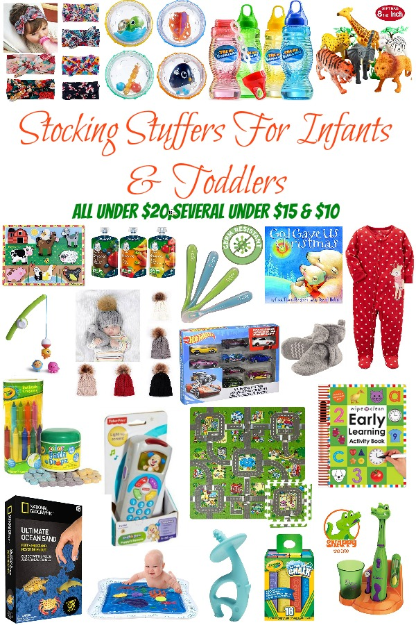 Pinterest graphic with text for Stocking Stuffers for Infants and Toddlers and collage of stocking stuffer ideas for babies.