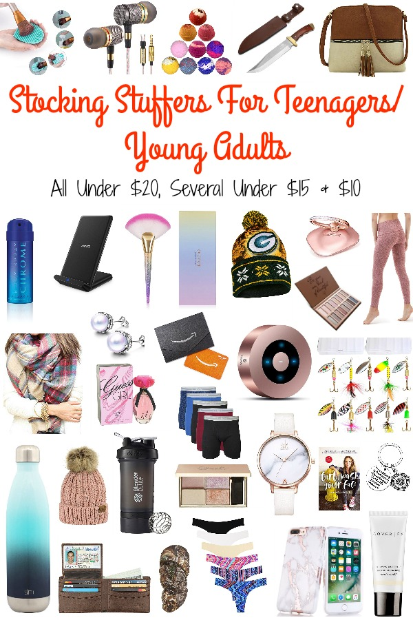 Pinterest graphic with text for Stocking Stuffers for Teenagers/Young Adults and collage of gift ideas.