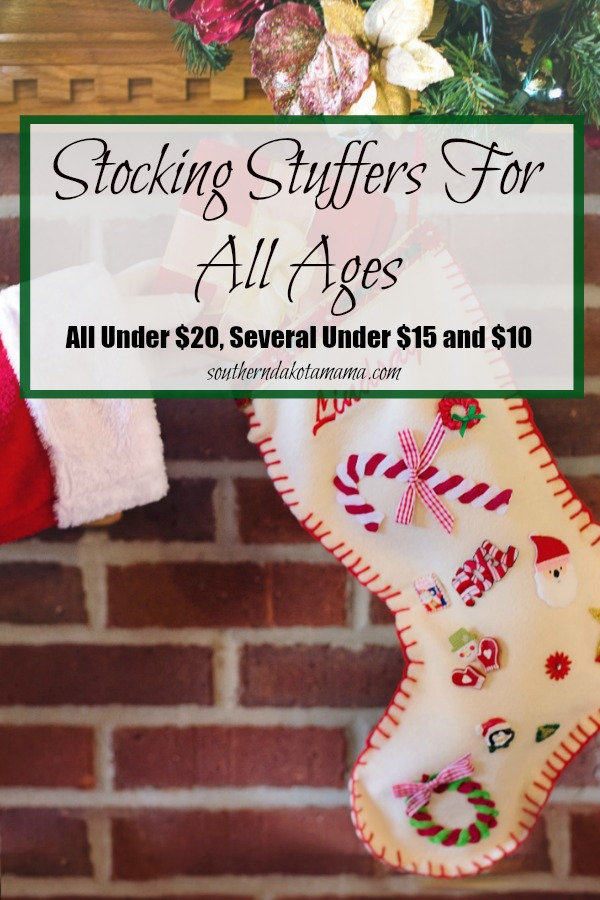 Pinterest graphic with text for Stocking Stuffers for all Ages and Christmas stockings hanging on mantle.