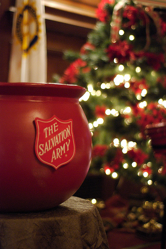 Salvation army donation pot for Christmas service scavenger hunt.