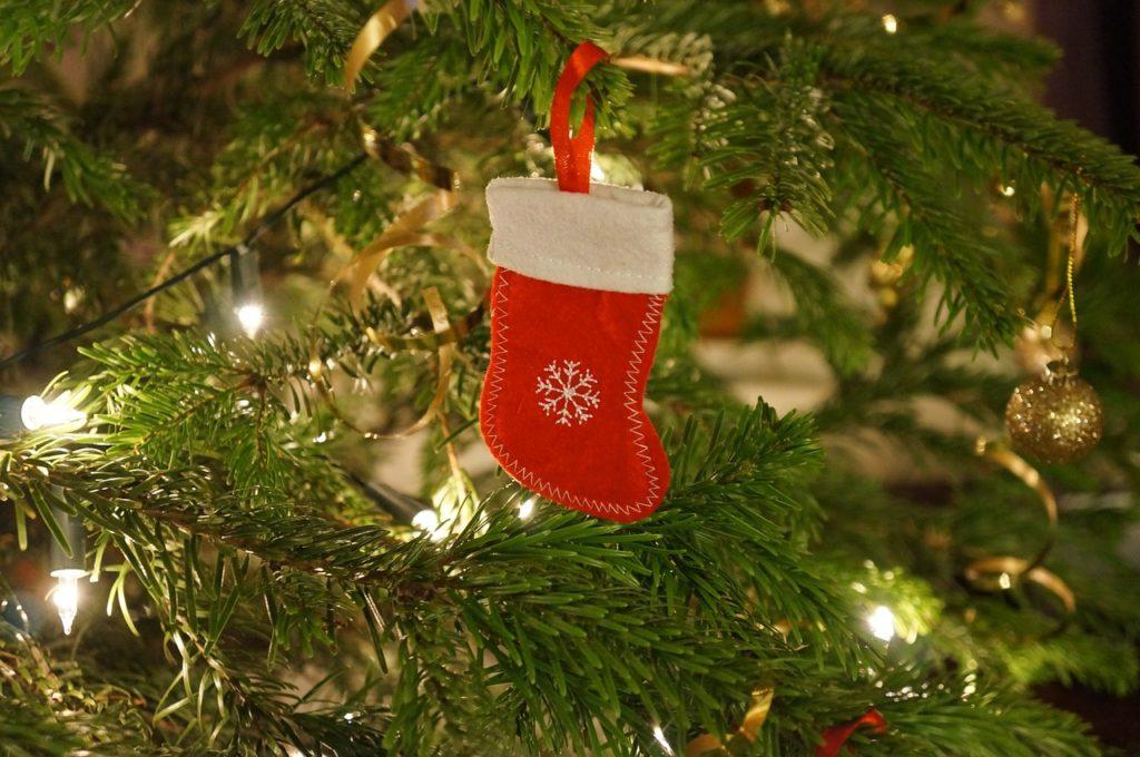Miniature Christmas stocking Christmas ornament.