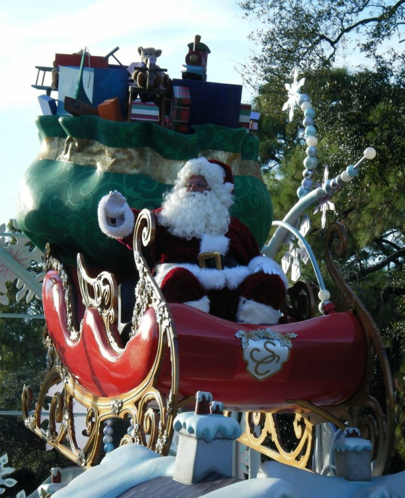 Christmas parade float with Santa Claus.