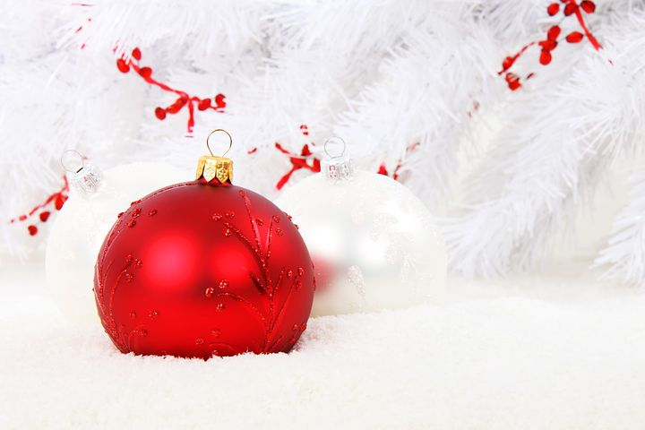 Red and white Christmas ornaments.