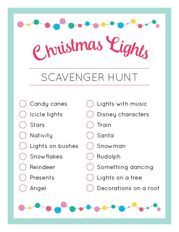 Christmas lights scavenger hunt printable.