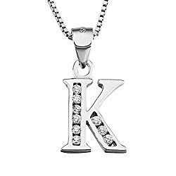 """Initial necklace with letter \""""K\""""."""