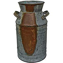 Rustic metal jug decor gift.