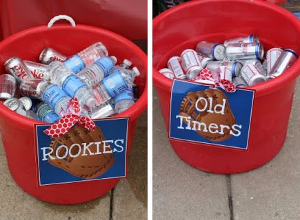 Rookies and old timers drink buckets for baseball shower theme.