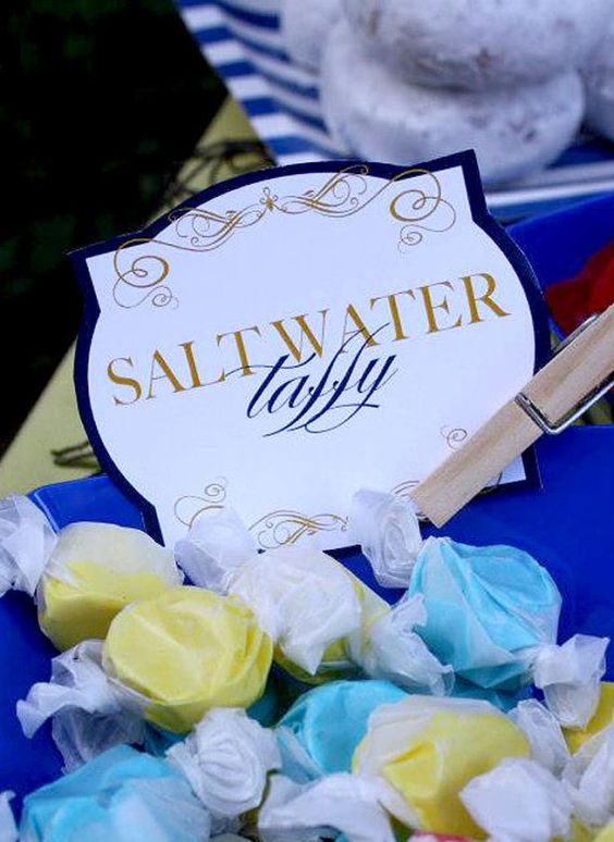 Saltwater taffy baby shower favors.
