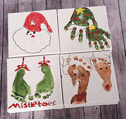 Christmas themed hand and footprint craft for babies.