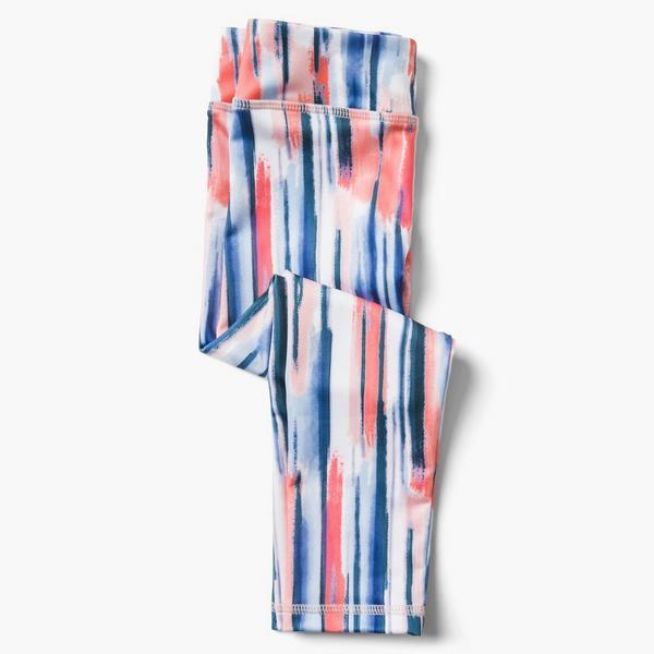 Red white and blue stripy little girl leggings.