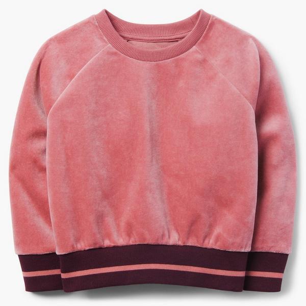 Pink velvet sweater for little girl.