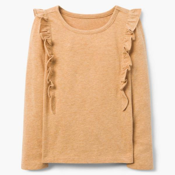 Burnt orange long-sleeved top for girls with ruffle detail.