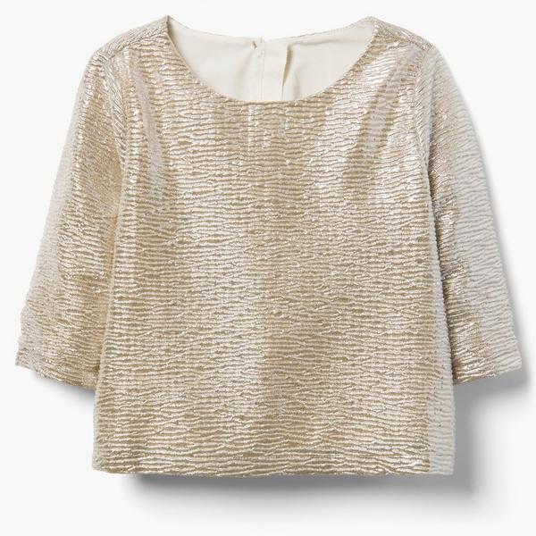 Satiny golden cream top for little girl.