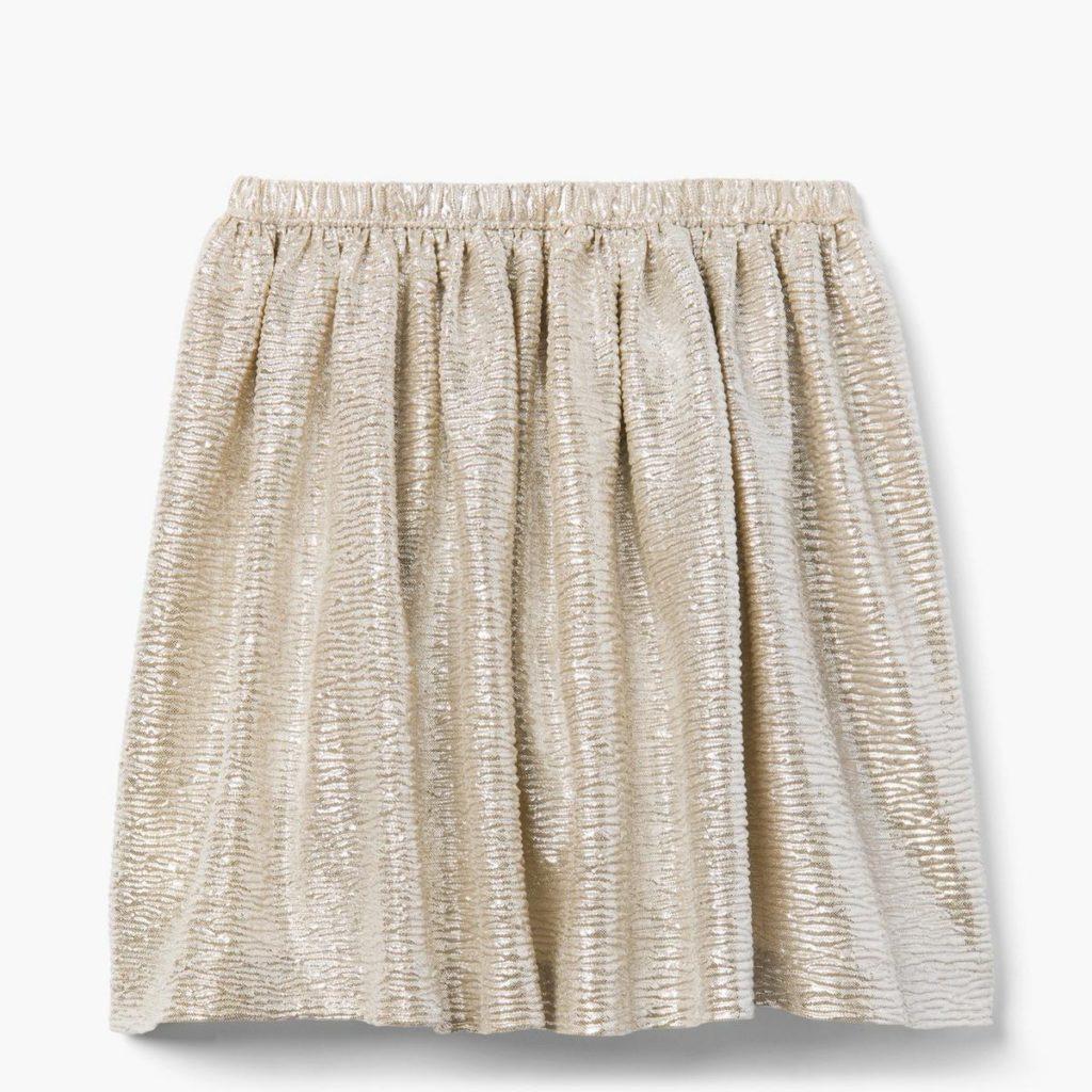 Shiny, gold toddler girl skirt.