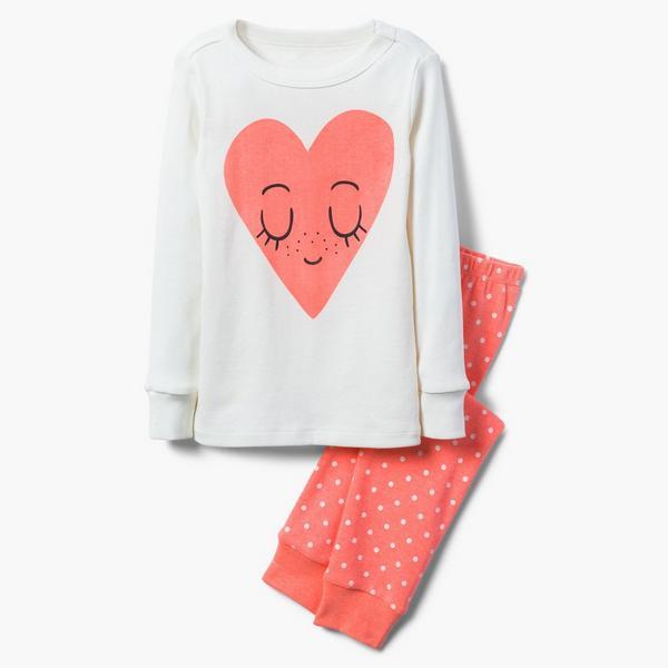 White and peach pajama set for girls.