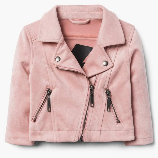 Pink crushed velvet moto jacket with zippers.