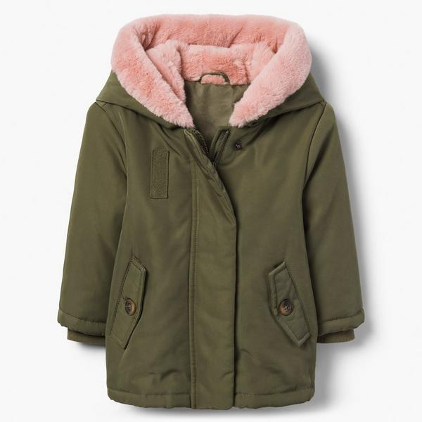 Army green winter coat with pink, faux fur collar.