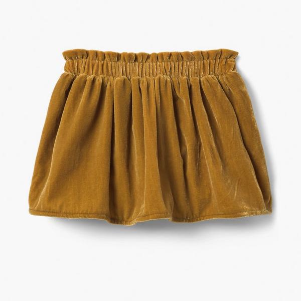 Golden velvet mini skirt for girls.