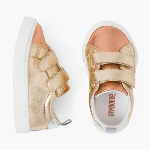 Gold and rose gold tennis shoes for baby girl.