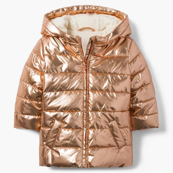 Shiny, rose gold puffer jacket.