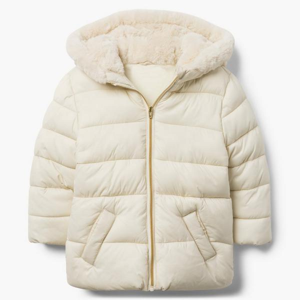 White puffer jacket with faux fur collar.
