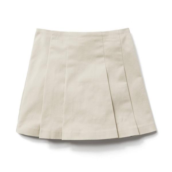 Pleated khaki skirt.