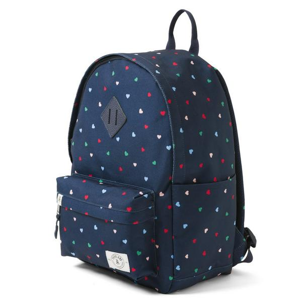 Girl bookbag, dotted with multi-colored hearts.