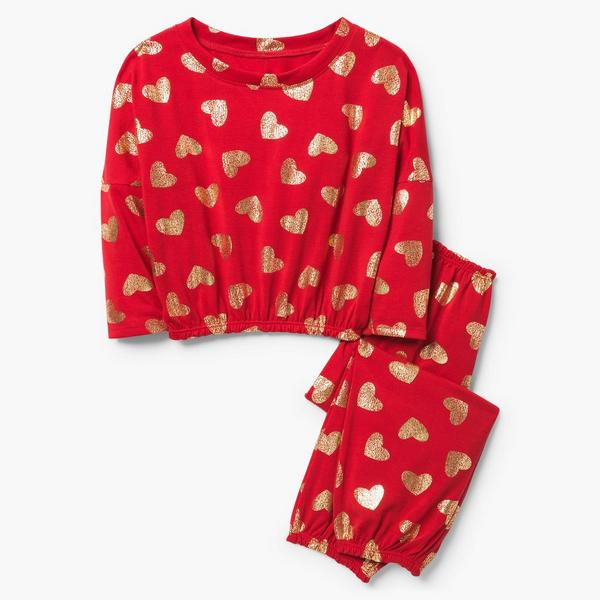Red pajama set with golden hearts.
