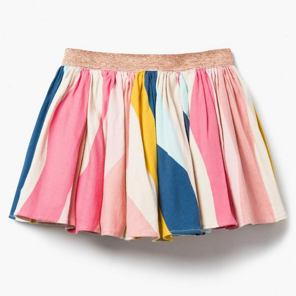 Colorful pleated skirt.