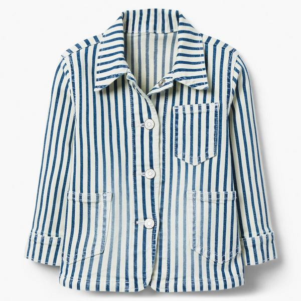 Blue and white striped denim button-up shirt.
