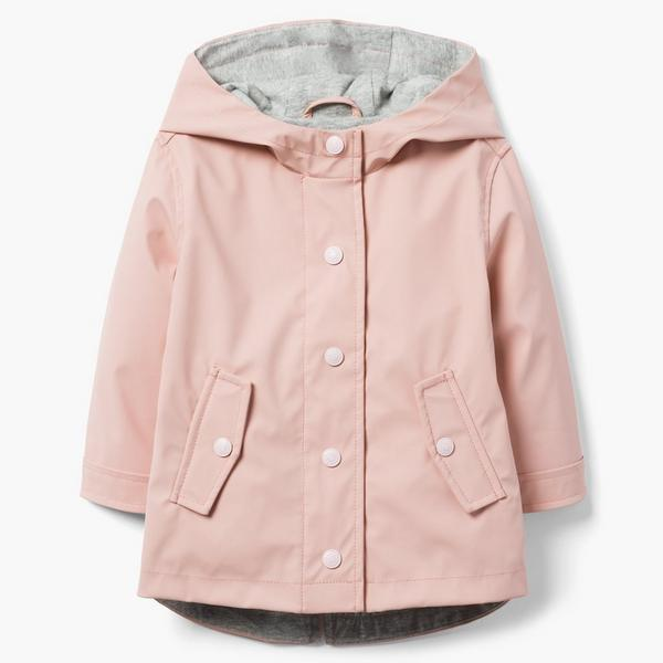 Pink trench jacket with gray lining.