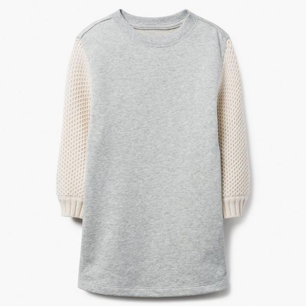 Gray and cream color blocked sweater for little girls.