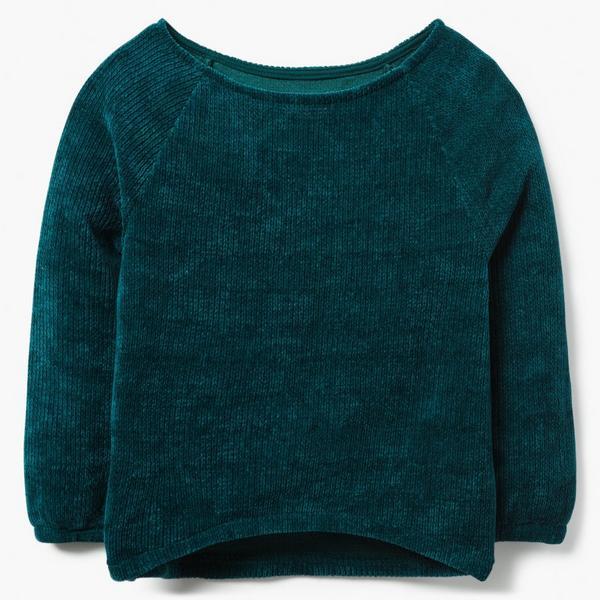 Green velvet little girl sweater.