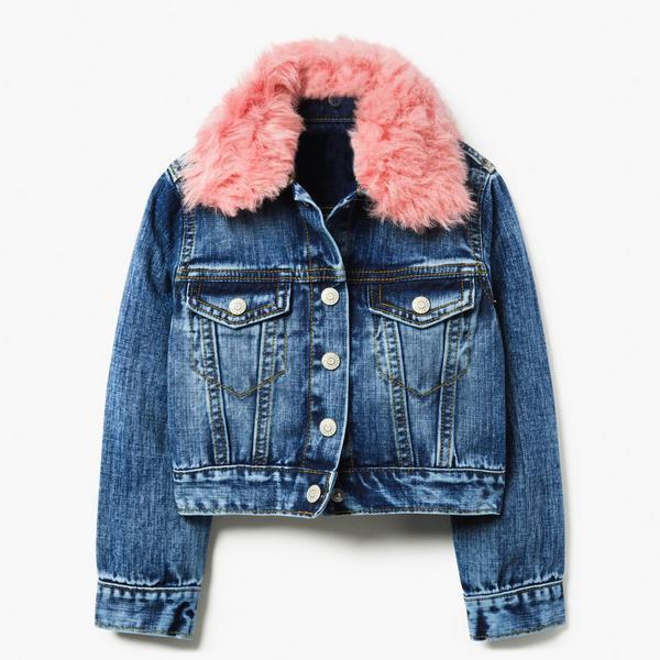 Denim jacket with pink faux fur collar.