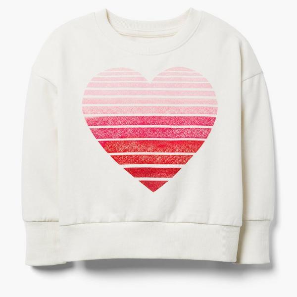 Ombre heart design on white sweater for girls.