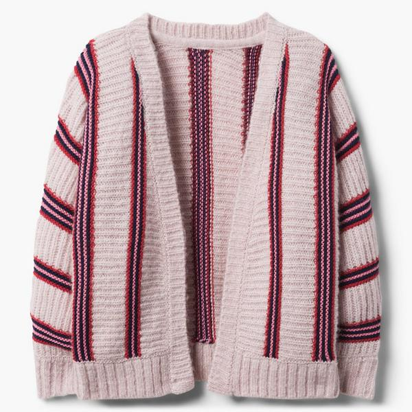 Red and blue striped sweater for little girl.