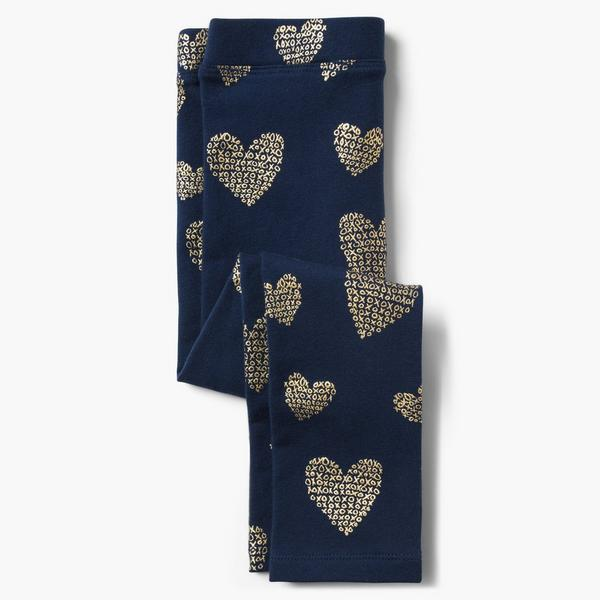 Dark blue legging pants with gold hearts.