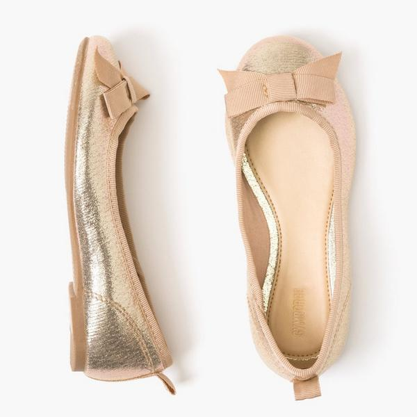 Rose gold little girl flats with bows.