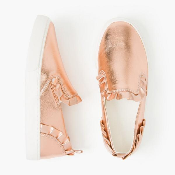 Shiny, rose gold shoes for girls.