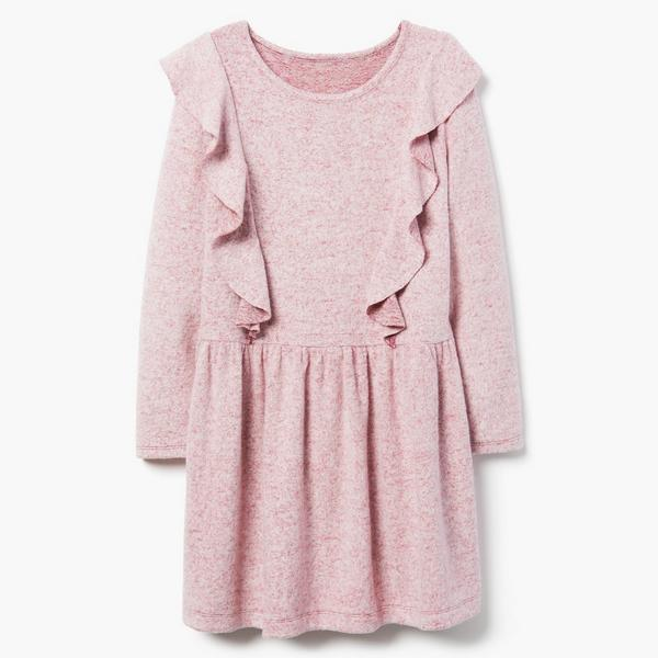 Blush pink long sleeved dress with ruffle details.