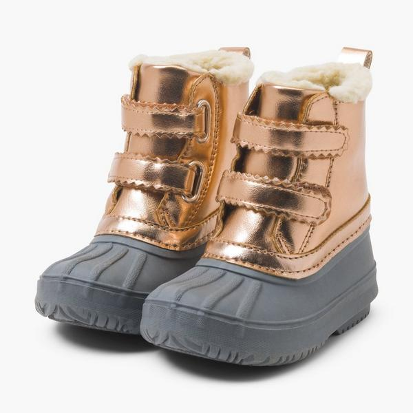 Gray and rose gold rainboots with faux fur lining.