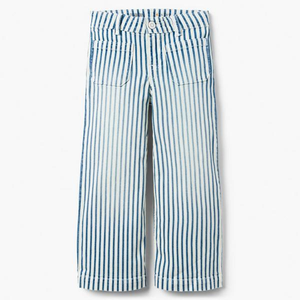 Blue and white striped denim pants.