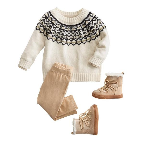 3 piece winter outfit with sweater, pants and boots.