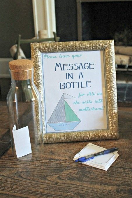 Message in a bottle for themed baby shower activity.